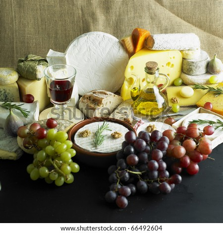 cheese still life with red wine