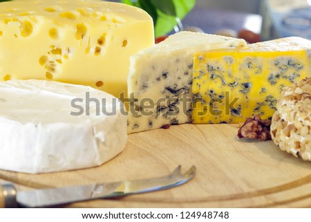 Cheese various assortment on wooden boards