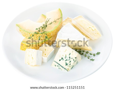 Cheese with melon on white background
