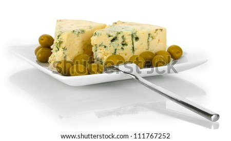 Cheese with mold and olives on the plate isolated on white