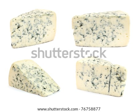 Cheese with mold on white background