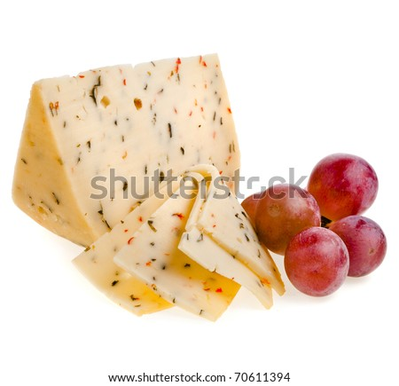 Cheese with spices isolation