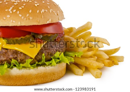 Cheeseburger and french fries, on a white background