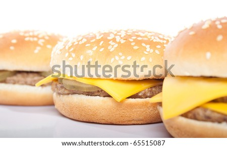 cheeseburger and hamburger closeup