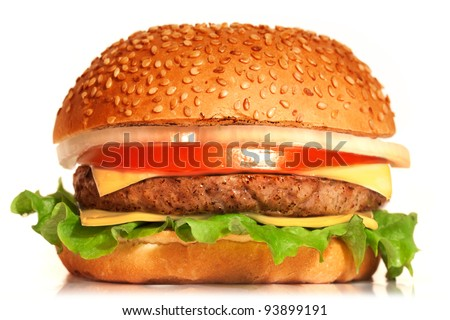 Cheeseburger. Cheeseburger on white background. Vintage Cheeseburger. Home made burger. Fastfood meal. Pub burger. Delicious burger. Gourmet Cheeseburger. Cheeseburger isolated. Rustic Cheeseburger.