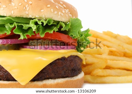 Cheeseburger hamburger close-up and french fries. Fast food & barbecue collection. - stock photo