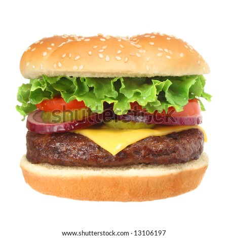 Cheeseburger hamburger isolated on white. Fast food & barbecue collection. - stock photo