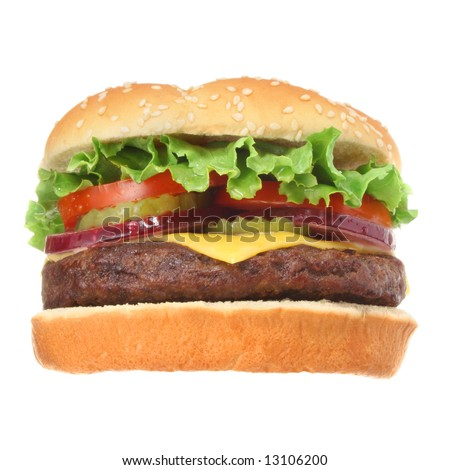 Cheeseburger hamburger isolated on white low angle. Fast food & barbecue collection.