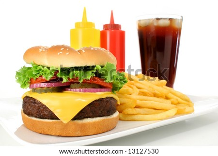 Cheeseburger hamburger meal with french fries and soda drink. Fast food & barbecue collection. - stock photo