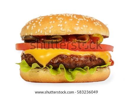 Cheeseburger - Stock image Hamburger, Burger, Cheeseburger, Food, Bun