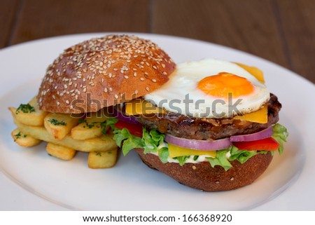 cheeseburger with eggs
