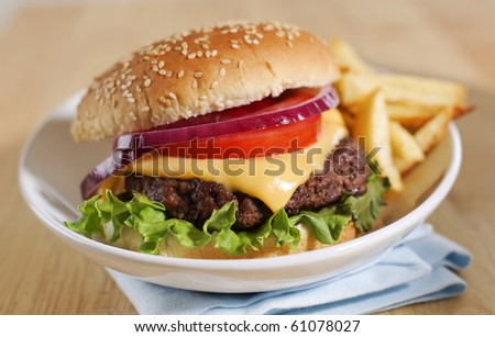 cheeseburger with french fries on a white plate. Shallow depth of field.