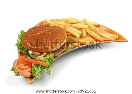 cheeseburger with fresh salad and fires on plate