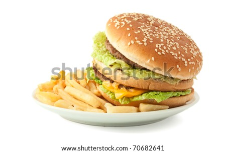 cheeseburger with fries on a white background