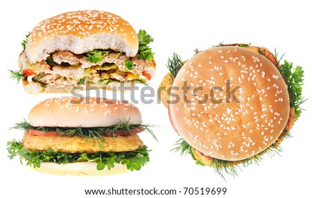 Cheeseburgers isolated on white background.