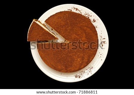 cheesecake isolate on a black background
