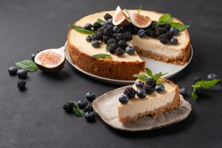Cheesecake slice, New York style classical cheese cake on black background. Slice of tasty cake on white plate