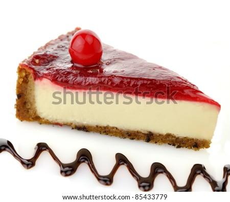 Cheesecake Slice with Chocolate Sauce and Cherries