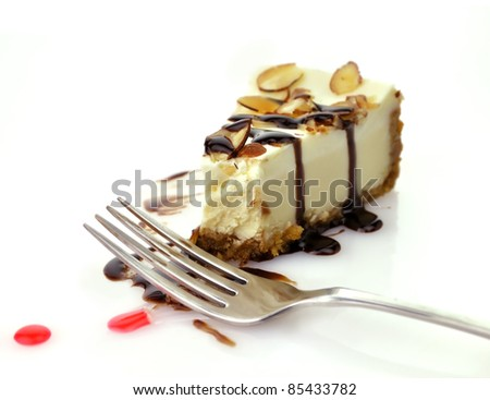 Cheesecake Slice with Chocolate Sauce and Fork
