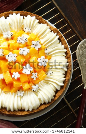 cheesecake with mango and airy protein cream. Fruit cake with cream
