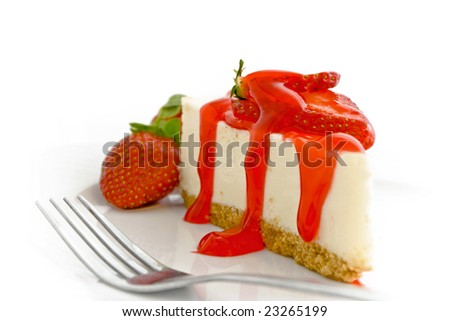 Cheesecake with strawberry glaze sauce on plate