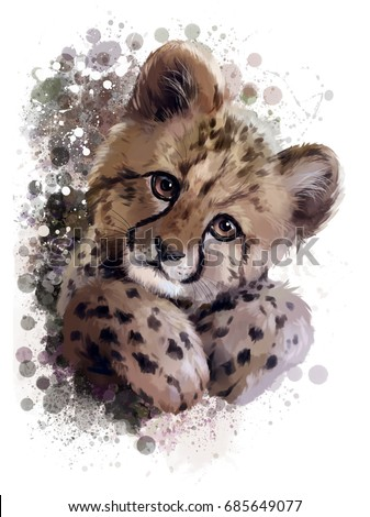 Cheetah cub watercolor painting
