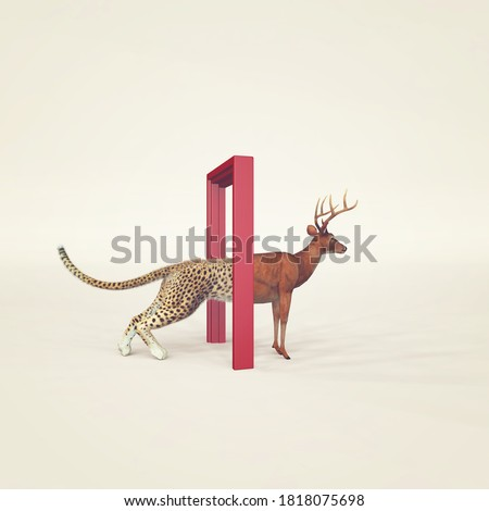 Cheetah entering a door and gets out as a deer . Changing mindset and different approach concept . Life changing decision and new opportunities . This is a 3d render illustration .  Photo stock ©