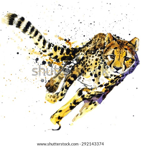 cheetah T-shirt graphics,  cheetah illustration with splash watercolor textured background. unusual illustration watercolor  cheetah fashion print, poster for textiles, fashion design