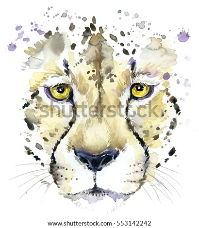 cheetah watercolor illustration.