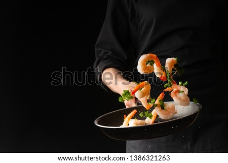 chef, background black, hotel, background, pan, action, freeze,