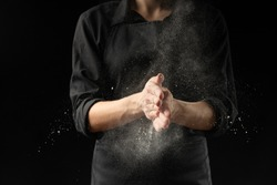 Chef, baker hands in flour over black background banner. Making pizza, pasta, baking bread and sweets. Design, menu, recipe book