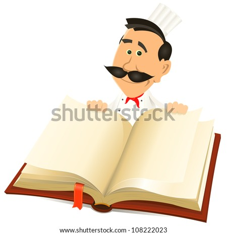 Chef Cook Holding Recipes Book/ Illustration of a cartoon chef cook character holding a white book for  restaurant menu, recipes background and gastronomy guide