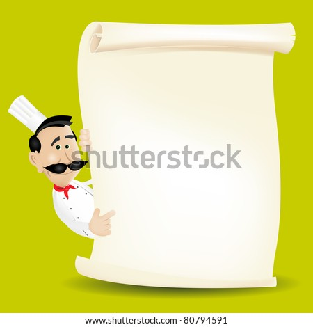 Chef Cook Restaurant Menu/ Illustration of a chef cook restaurant poster background, with italian or french cook holding parchment paper, for food advertisement, wine menu