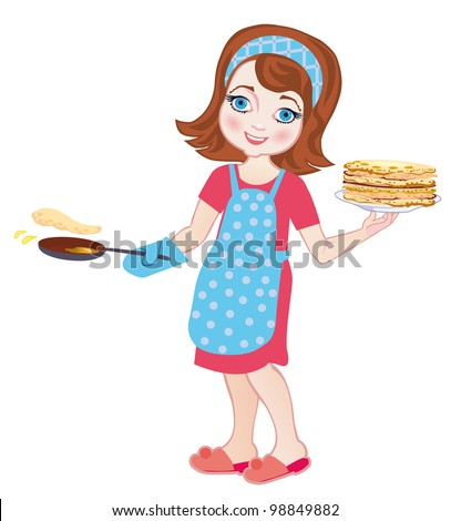 Chef girl fries pancakes isolated on a white background