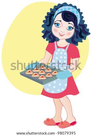 Chef girl making Haman's ear purim