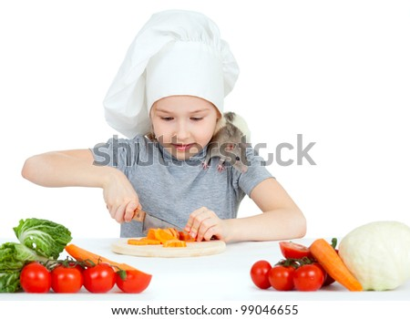 Chef girl preparing healthy food. Helper rat are sitting on her shoulder.