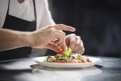 Chef hands preparing vegetable salad