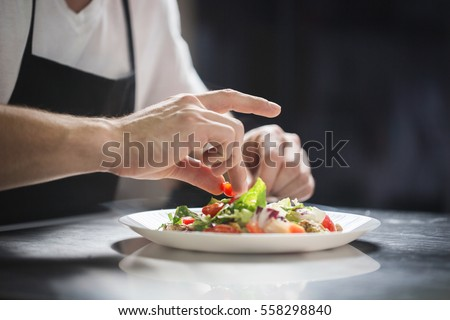Shutterstock Chef hands preparing vegetable salad