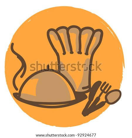 chef hat and plate line-art