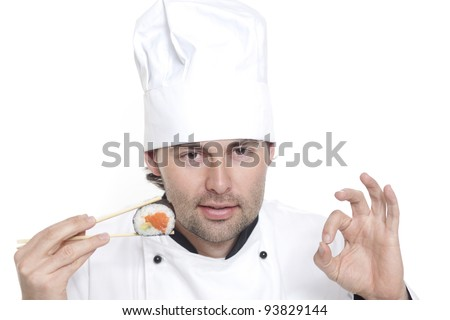 Chef in Chef's Hat recommends sushi