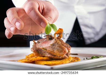 Chef in hotel or restaurant kitchen cooking, only hands. Prepared meat steak with potato or celery pancakes.He is working on the herb decoration.