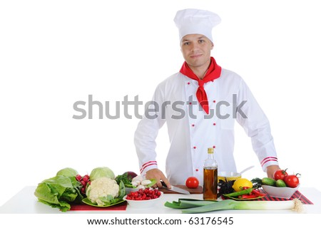 Chef in uniform at restaurant. Isolated on white