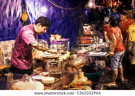 Chef is cooking food on Yaowarat road (Chinatown) one of Popular destinations for tourists in Bangkok, Thailand. Abstract digital oil painting.
