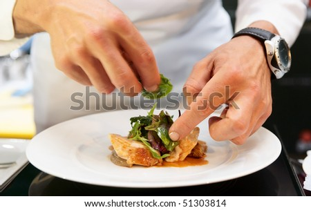 Chef is decorating delicious dish, motion blur on hands