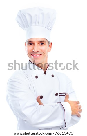 Chef .  Isolated over white background. Gourmet.