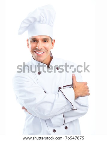 Chef man.  Isolated over white background. Gourmet.