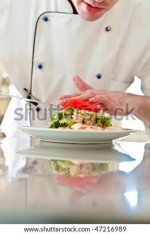 Chef prepare Caesar salad