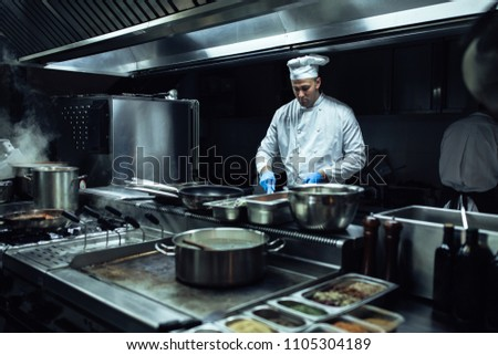 Chef preparing a meal in the professional kitchen #1105304189