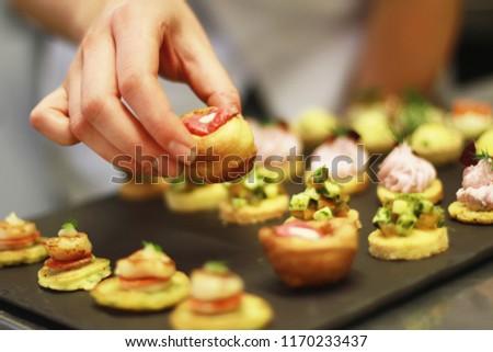 chef preparing canape platter Photo stock ©
