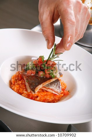 Chef preparing food on professional kitchen